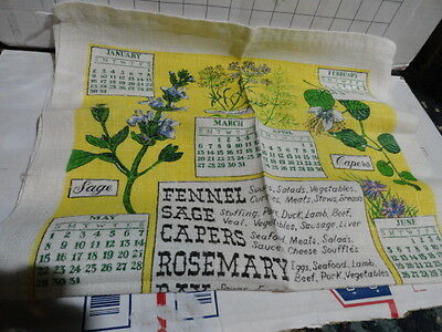 1983 c Mange French linen printed fabric 1983 CLOTH CALENDAR spices kitchen art