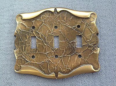 Vintage Brass Amerock Carriage House Triple Switchplate Cover