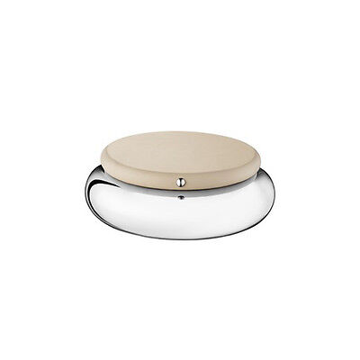 Christofle Round Steel Box w/Greige leather cover