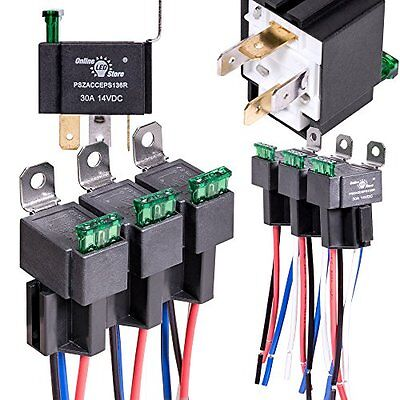 6 Pack OLS 30A Fuse Relay Switch Harness Set - 12V DC 4-Pin SPST Automotive NEW