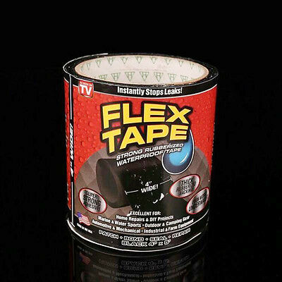 """1x Flex Tape Black  4"""" 5' Strong Rubberized Seal Tape Strong Rubberized"""