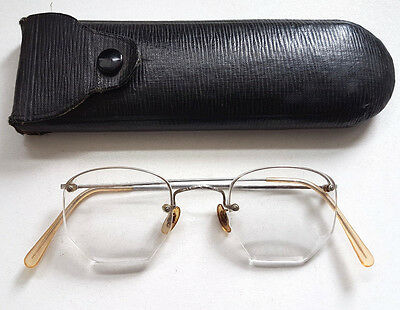 Vintage 1920s Hadley Rimless Eyeglasses Spectacles Steampunk + Original Case