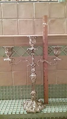 Vtg Large Ornate Heavy Brass Candelabra 3 Arm ~19'' Candle Holder *True Quality*