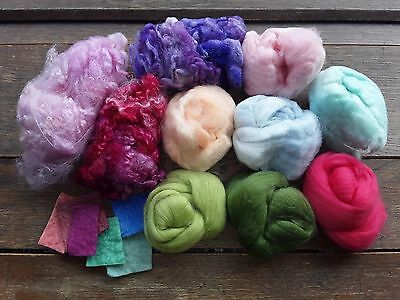 120g Merino Wool and Hand Dyed Wool, Fleece, Pack, Needle Felting, Spinning