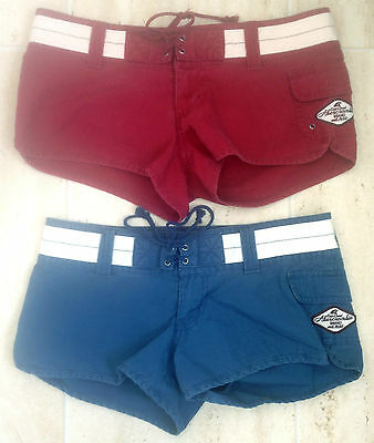 ABERCROMBIE Ladies HIPSTER SHORTS 00 SIZE 8 Low Rise Hot Pants RED or MID BLUE
