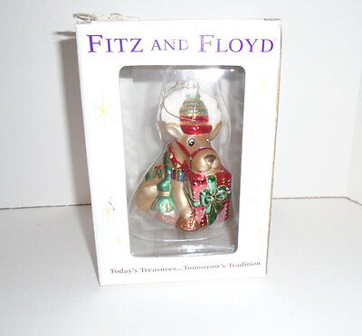Fitz and Floyd Christmas Sitting Deer Ornament Holding Gift Glass NIB NIP