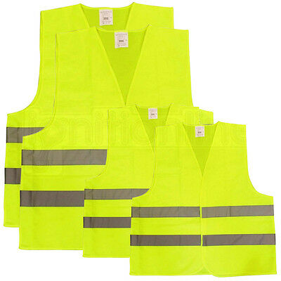 Family Pack High Visibility Fluorescent Reflective Waistcoat Safety 4 Vests