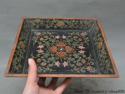 Collect Old Chinese Wood lacquerware hand-Carved Lucky Flower Tray Dish Plate
