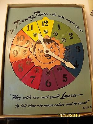 """Vintage Sifo Toys """"Timmy Time"""" Wooden Toy Puzzle Color Wheel Clock Teaches Time"""