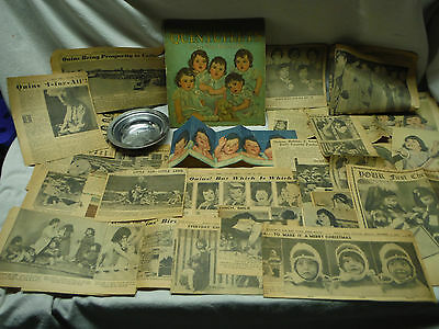 Vintage Dionne Quintuplets Collection Book Newspaper Cut-Outs Pictures Bowl