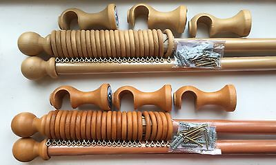 EASY FIT Wooden Curtain Pole set, + extra 6 FREE Rings, Ball finial, Natural ...