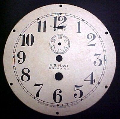 "VINTAGE US NAVY SETH THOMAS DECK CLOCK 4-1/2"" BRASS DIAL No. 2"