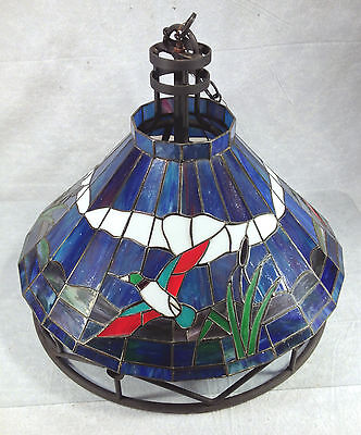 Vintage Stained Glass Ceiling Chandelier Duck Decor Metal Frame Milk Glass Globe