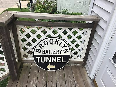 Nice vintage 1970's? NYC Brooklyn Battery Tunnel Original Aluminum Street Sign