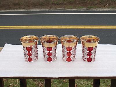 "EAPG CLEAR with RUBY STAIN   ""GLORIA""   set of  (4)  FLAT WATER TUMBLERS"