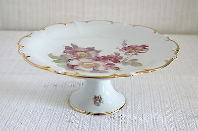 Schumann Arzberg Bavaria Germany WILD ROSE Golden Crown Round Compote Cake Plate