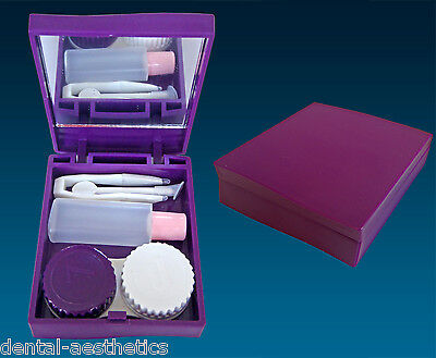 Contact Lens Travel Kit Case ~ Purple ~ Mirror Tweezers & Lenses Solution Set