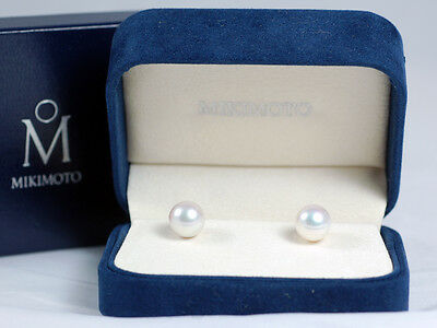 8.8 mm AUTH. MIKIMOTO EARRINGS, STUDS, BOXES
