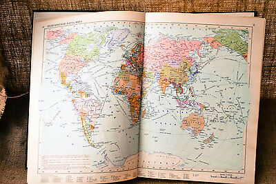 Huge Atlas Of The World. Book of Maps from 1980s. Retro Soviet atlas in Russian