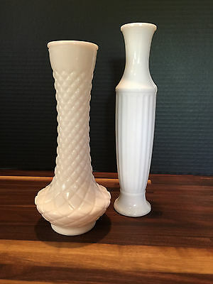 Pair VINTAGE/ANTIQUE WHITE Milk Glass cross-hatched & fluted Vases Tall