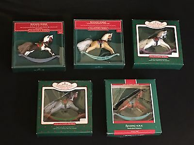 Hallmark Rocking Horse Collectible Series Lot of 5 - 1985 1986 1987 1988 1989