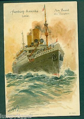 HAMBURG-AMERIKA LINE NO 382,EARLY CHROMO,vintage postcard