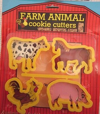 FARM ANIMAL cookie cutter set COW HORSE ROOSTER PIG - Made in USA ENSAR 1002