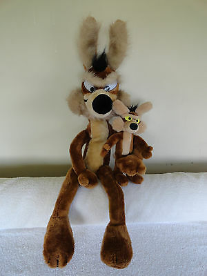 """Two 1971 Warner Bros.Wile E. Coyote Poseable Collectible Plush LARGE 32"""" and 12"""""""