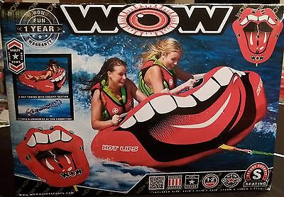 "WOW Hot Lips 1-2 person Towable Raft Tube Cockpit Seating 2 tow points 67"" NEW"