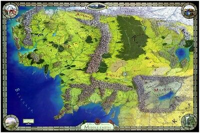 Middle Earth Map POSTER  - AMAZING COLORS Lord of the Rings TOLKIEN the Hobbit