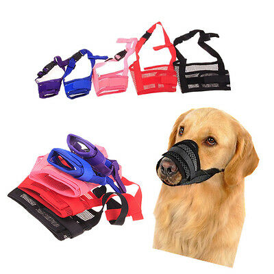 Dog Safety Muzzle Adjustable Biting Barking Chewing Small Medium Large (INT)