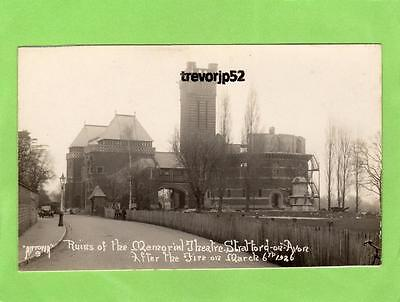 Memorial Theatre Stratford on Avon Ruins after Fire 1926 RP pc Antona Ref B471