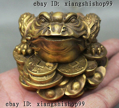 Chinese Brass Weatlh Coin Golden Toad Spittor Hoptoad FengShui Statue Figurine