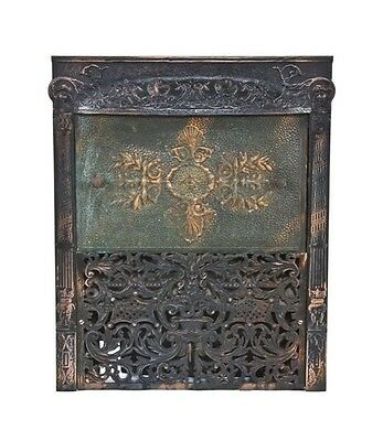19Th C. Victorian Era Cast Iron Oxidized Copper-Plated Fireplace Gas Insert