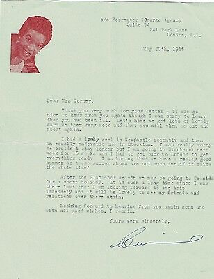 Winifred Atwell Trinidadian Pianist Hand signed Headed Letter May 1966