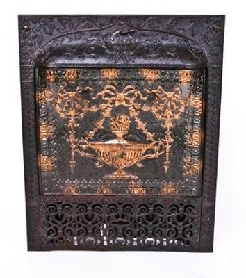 Vintage Ornamental Cast Iron Victorian Era Fireplace Gas Insert With Summer Cove