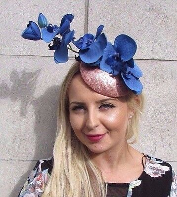 Rose Gold Royal Blue Sequin Orchid Flower Fascinator Hat Hair Clip Races 3083