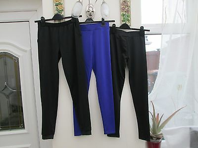 3 ITEMS GIRLS LEGGINGS / LOOSE FITTING PANTS  PLAIN BLACK & PURPLE  AGE 10/11yrs