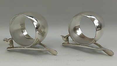 Vintage Pair of English Silver Plate Wishbone Chicken Napkin Serviette Rings