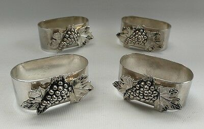 Vintage Set of Four Oblong Silver Plate Grape Vine Leaf Design Napkin Rings