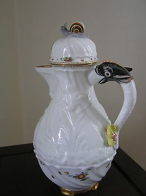 Meissen-patterned SWAN Coffee Pot With Dolphin Handle (Mottahedeh Vista Alegre)