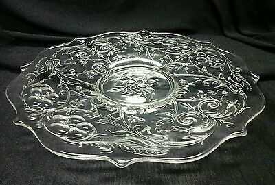 "Mckee Rock Crystal Clear Glass 13"" Cake Plate Scalloped Edge"