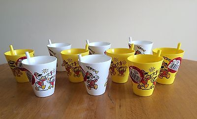 Lot Of 10 Vtg Plastic Eagle Disney Sippy Straw Cup Mickey Mouse New Old Stock