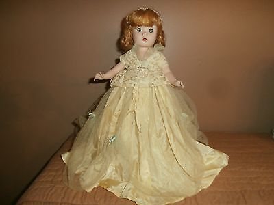 """1950's MADAME ALEXANDER DOLL""""MAGGIE FACE"""" IN BRIDESMAID'S GOWN.14"""" tall."""