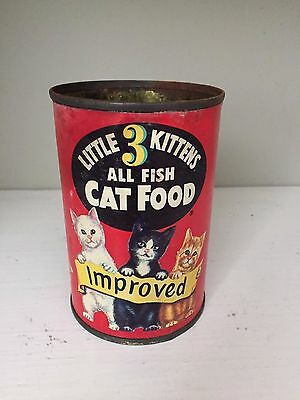 RARE Antique General Mills Little 3 Kittens All Fish Cat Food Tin Can,Litho,