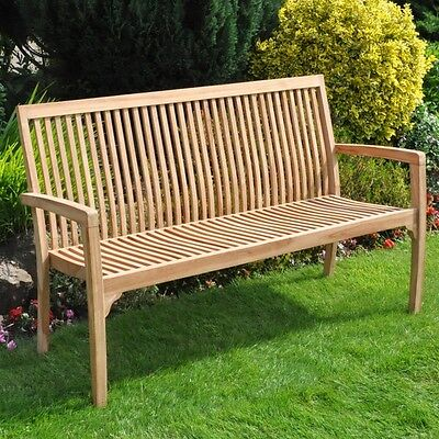 Garden Teak Traditional Solid Wood Wooden Bench Chair Seat Delivered Assembled