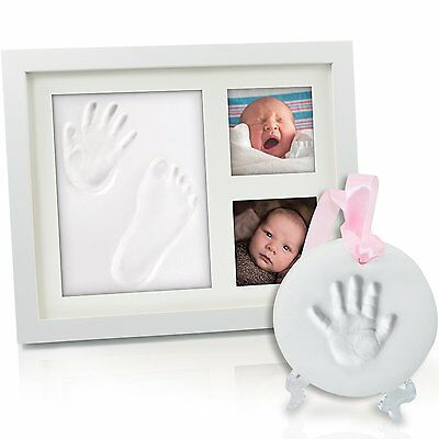 HuGreat 2in1 Baby Handprint & Footprint frame-Free table/wall ornament kit-Photo