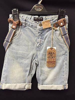 Boys Soul & Glory Denim Shorts With Tan & Beige Attached Button Braces 3-6 Year