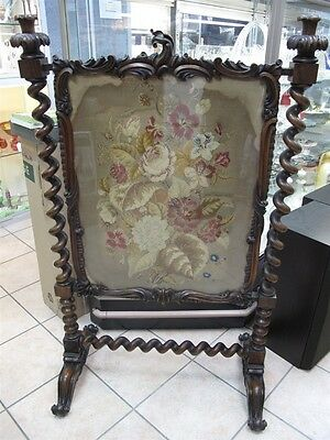 "Georgian ca1820 Rosewood Fire Screen 51"" x 32"" Original Needlepoint Superb!"