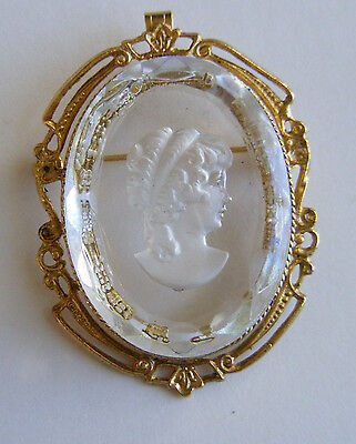 Vintage Gold tone & Clear Glass Cameo Engraved Woman Brooch Pin Pendant Z1